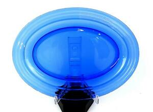 "HAZEL ATLAS DEPRESSION GLASS MODERNTONE RITZ BLUE 11"" OVAL PLATTER 1934-42"