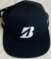 Bridgestone Tour Flat Bill Golf Hat Black White Small Medium Fitted Ball Cap New