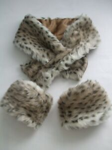 "New Faux Fur Lynx Scarf +A pair Arm / Leg Warmer Fuzzy Boots Shoes cover Cuff 5"""