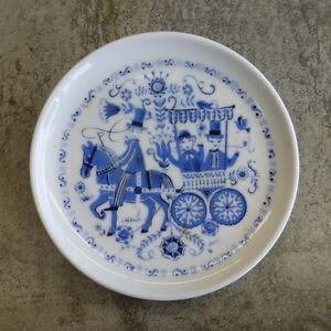 Vintage Kurt Hammer Pin Dish German Blue and White Folk Design 9.6cm Small