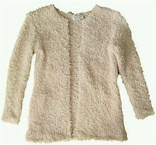ZARA Girls PINK IVORY 1970s Shaggy Knitted Open Cardigan 7-14y £23.99