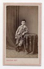 CDV Carte de visite PHOTO Garçon Enfant MAUJEAN Paris Vers 1870 Table Livre