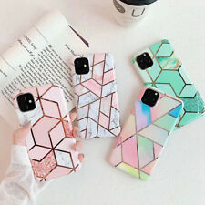 Plating Splice Geometric Marble Soft Case Cover For iPhone 6s 78 SE2 Plus XR Max