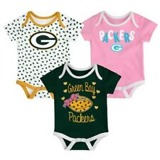Green Bay Packers NFL Baby 3-Pack Heart Fan Bodysuit Set, Size 0-3 Months - NWT