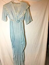 Antique Ladies Teal Green Full Length? Silk Lace Dress 1800 to 1900 Original