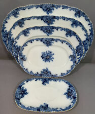 Lot (5) Antique JEAN POUYAT Old FRENCH LIMOGES Porcelain FLOW BLUE PLATTERS Tray