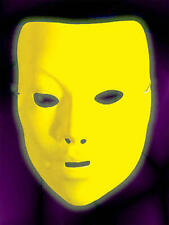 Neon Yellow Plastic Face Mask Drama Theatrical Fancy Dress