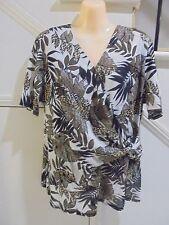 SUSAN BLAKE SIZE 18 WHITE BLACK BROWN PATTERN TOP 'VERY DRESSY' PERFECT