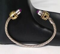 Women's Vintage TAXCO 925 Sterling Silver & Brass Cable Cuff Bracelet, Mexico