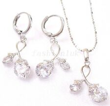 Women CZ Cubic Zirconia White Gold Plated Cherry Hoop Drop Earrings Necklace Set
