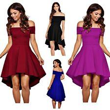 Bridesmaid Off Shoulder High Low Hem Purple Blue Skater Dress Plus Size Regular