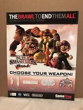 """Super Smash Bros Brawl Nintendo Wii Video Game Retail Display Poster - 28""""x22"""""""