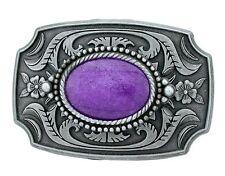 Antiqued Pewter Southwest Western Oval Dyed Purple Jade Cabochon Belt Buckle
