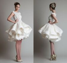 Short Bateau Cap Sleeves Dress Knee Length Organza Prom Homing Party Ball Gown