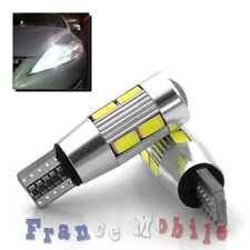 2x Veilleuses LED T10 W5W 10 SMD Canbus Anti Erreur ODB Blanc 12V Moto ampoules