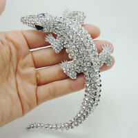 Gorgeous Bride Crocodile Animal Pendant Rhinestone Crystal Bride Wedding Brooch
