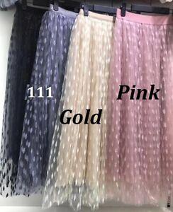 Womens ladies elastic high waist ruffle mesh tulle TUTU skirt pleated long dress