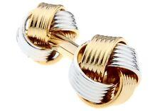 Knot Cufflinks 2 Tone Dual Ends Formal Wedding Fancy Gift Box Free Ship USA