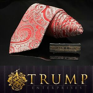 DONALD J. TRUMP~ SIGNATURE COLLECTION Bright Red White Paisley NECKTIE POWER TIE