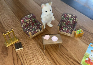 Sylvanian Livingroom Chairs Coffee Table Lot Rare Keats Dad Cat Calico critters