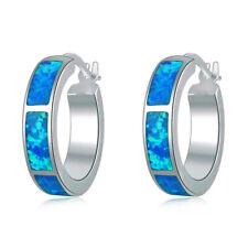 **UK**GORGEOUS 925 SILVER BLUE FIRE OPAL HOOP EARRINGS   20 X 5 mm