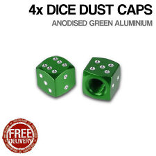 4x Green Dice Car Bike Motorcycle BMX Wheel Tyre Valve Metal Dust Caps Dusties