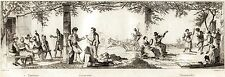 Napoli: Taverna,Lazzaroni e Tarantella.Costumi. Audot.Acciaio.Stampa Antica.1835