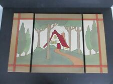 Mary Engelbreit Arts And Craft Ceramic Wall Tiles Triptych - Cottage In Woods