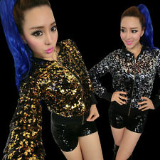 Womens Sequin Long Sleeve Jackets Stage Party Street Dance Coats Cool DS Hip Pop