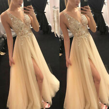 Women's Split Maxi Dress Formal Cocktail Party Evening Bridesmaid Ball Prom Gown
