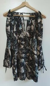 ASOS Womens Black/Cream/Blue Print Jumpsuit Size 8