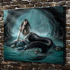 Cave Skull Siren Mermaid Painting HD Print on Canvas Home Decor Wall Art Picture
