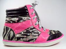 Justice Pink/Black/Silver Hi-Top Sneakers In Size 2 (Youth)