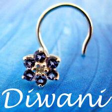 Real Iolite & Diamond Flower 14kGold Wedding Nose Ring Piercing Jewelry Pin Stud