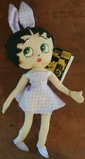 Betty Boop Kellytoy Plush Doll Gingham Bunny Easter Collection 2005 Purple Dress