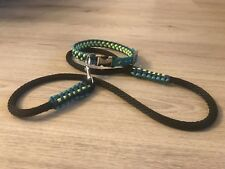 Paracord & Biothane Adjustable dog collar With Engraved Buckle & Matching Lead