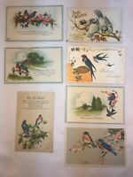 Vtg Lot of 7 1907-39 BLUEBIRD Birthday Wishes Greetings Postcards