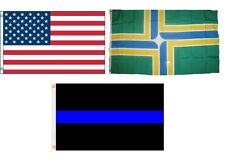 3x5 USA & Portland Oregon & Police Blue Line Flag Wholesale Set 3'x5'