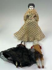 2 Antique China Head Dolls + 1 Bisque Doll