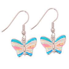 """Silver Dangle Earrings 1 1/8"""" Oh3265 Butterfly White Opal Women Jewelry Gemstone"""