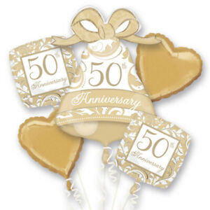 Gold 50th Anniversary Elegant Scroll Foil Balloon Bouquet Cluster