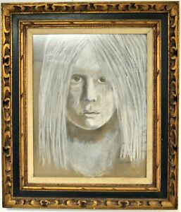 Levine Realistic Chalk Drawing Portrait/Graphite and white chalk on board