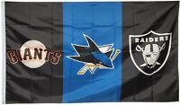 San Jose Sharks & Oakland Raiders & San Francisco Giants Flag 3x5ft Banner