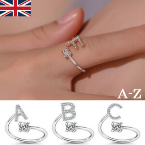 Fashion CZ Adjustable 26 Initial Letter Ring Women Jewelry Friendship Gift UK