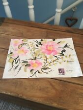 Oriental Style Flowers Painting Drawing Picture Signed