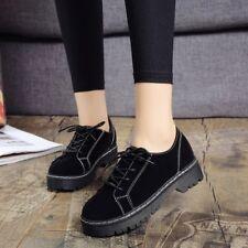 Women's Suede Leather Lace Up Round toe Platform Flats Oxfords Pumps Shoes Black