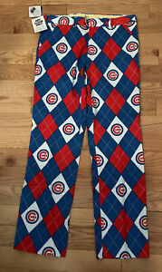 Men's NWT Chicago Cubs LoudMouth Golf Pants Cotton Spandex Blend 34 X 30