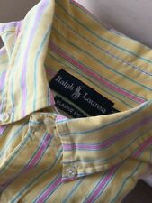 Ralph Lauren Casual Yellow Striped Classic Fit Button Down Shirt Large Men L/S