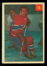 1954 55 PARKHURST #15 FLOYD CURRY EX MONTREAL CANADIENS HOCKEY CARD LUCKY BACK