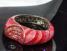 Red Pink Crystal Rhinestone Studded Enamel Fashion Bangle Bracelet NEW